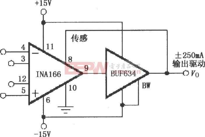 INA166增加输出电流的缓冲电路图