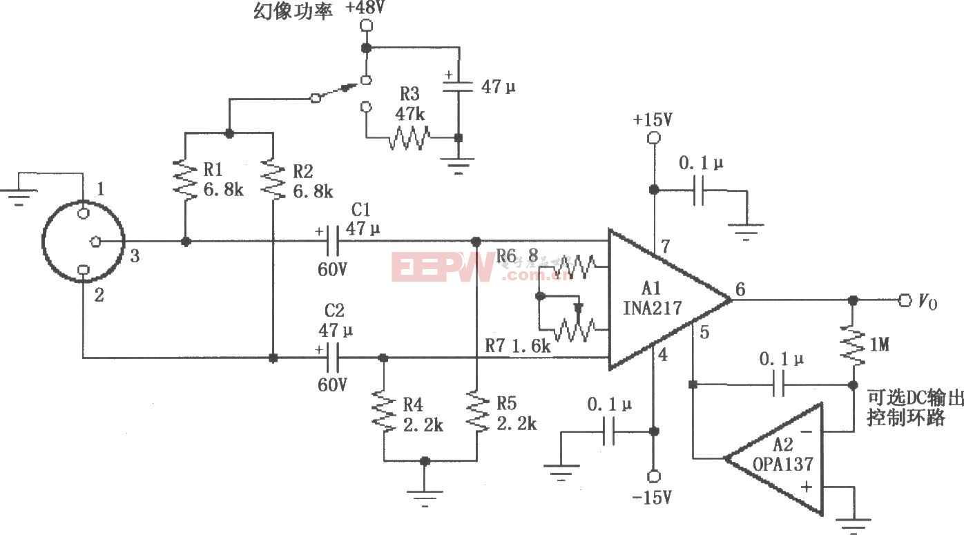 INA217构成的专业级微型话筒(麦克风)前置放大典型电路图