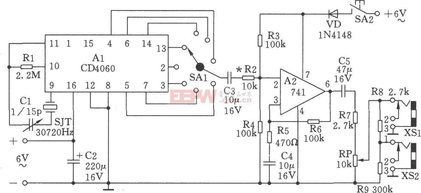 低频信号发生器(2Hz、4Hz、60Hz、120Hz等)电路