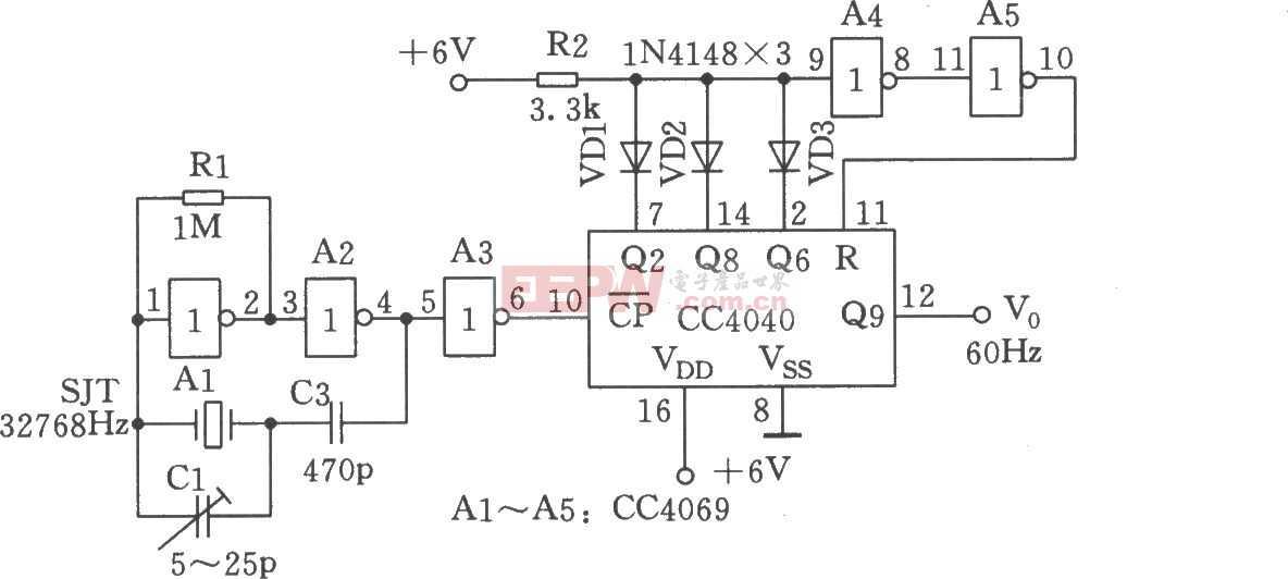 时基 数字钟 振荡/如图所示电路主要用作数字钟的时基振荡源。