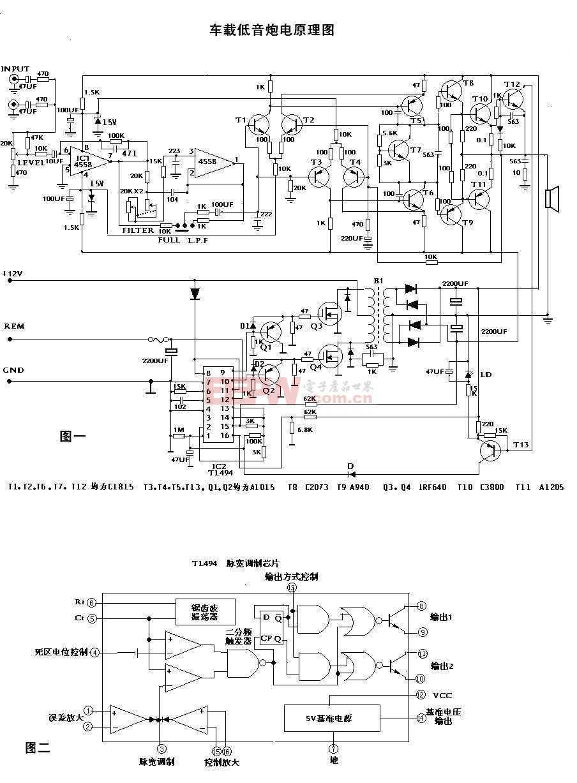 车载低音炮原理图及印刷电路图