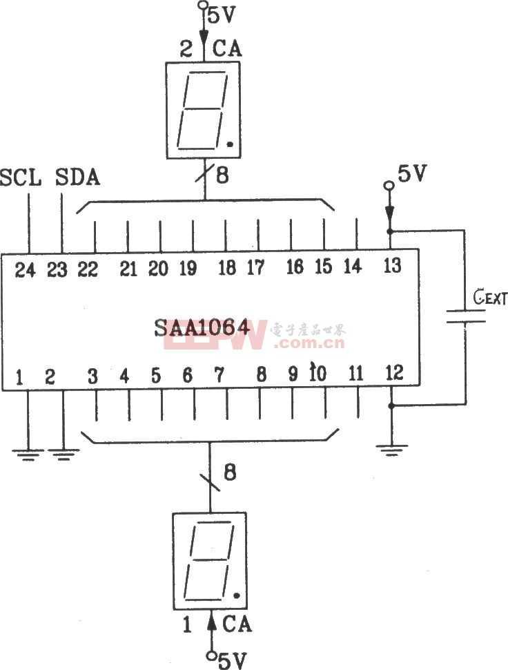 SAA1064串行I2C总线LED显示驱动集成电路静态驱动接口电路图