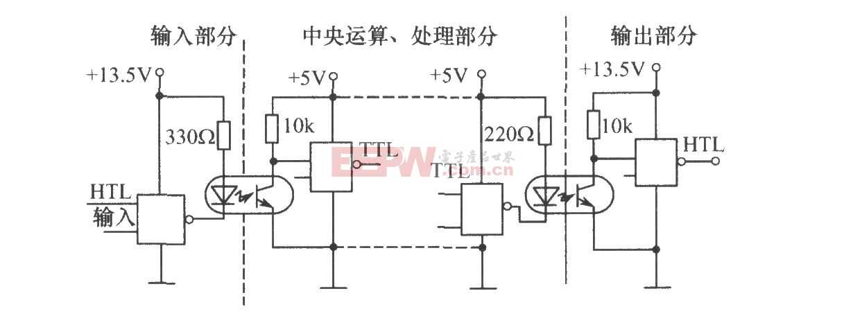 利用光电耦合器的计算机接口电平匹配电路图