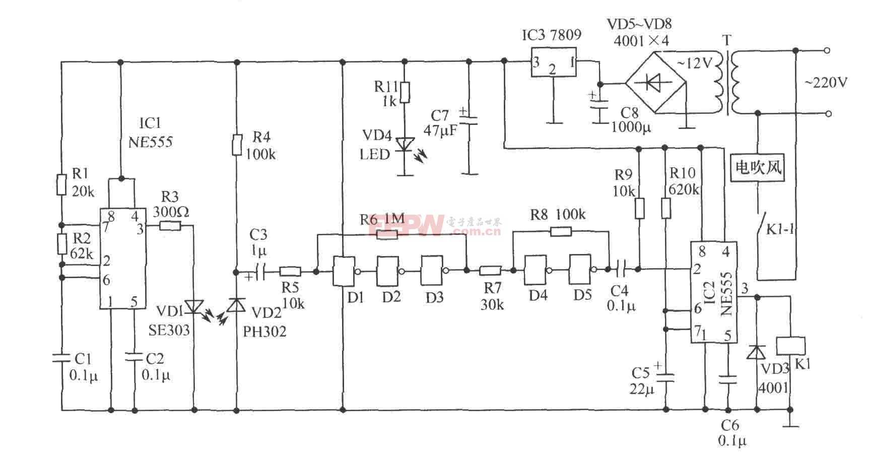 红外反射式自动干手器电路图