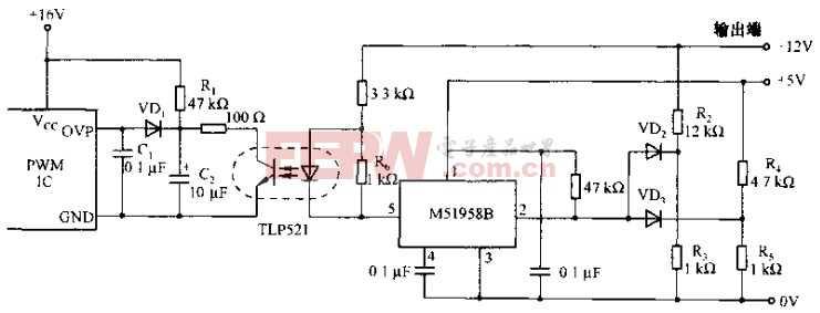 基于M51958B芯片的电源过电流闭锁电路