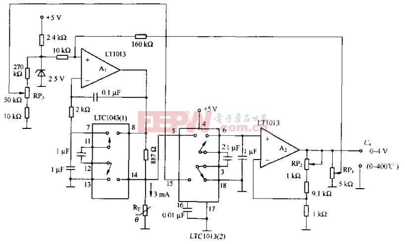 基于LTC1043芯片的温度测量电路