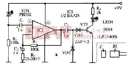 基于放大器BA328芯片的红外遥控器好坏检查电路