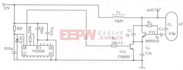 基于VD5026芯片的600m遥控发射电路