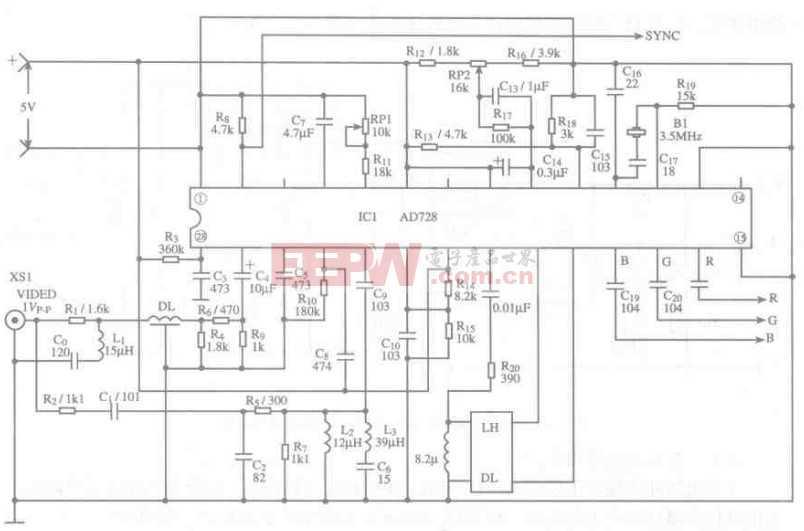 基于AD728芯片的视频RGB转换器电路