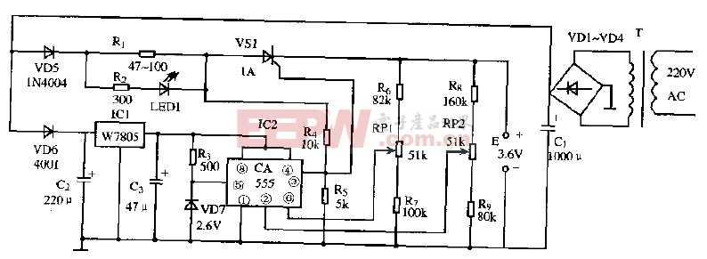 基于CA555芯片的手机充电电路