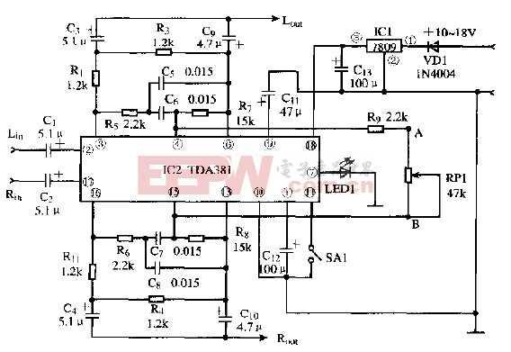 基于TDA381的音场效果处理器电路