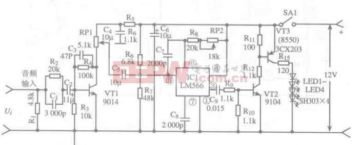 基于LM566芯片的音频红外线发射电路
