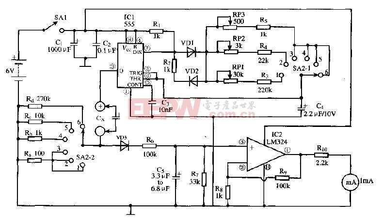 基于LM324芯片的简易电容表电路