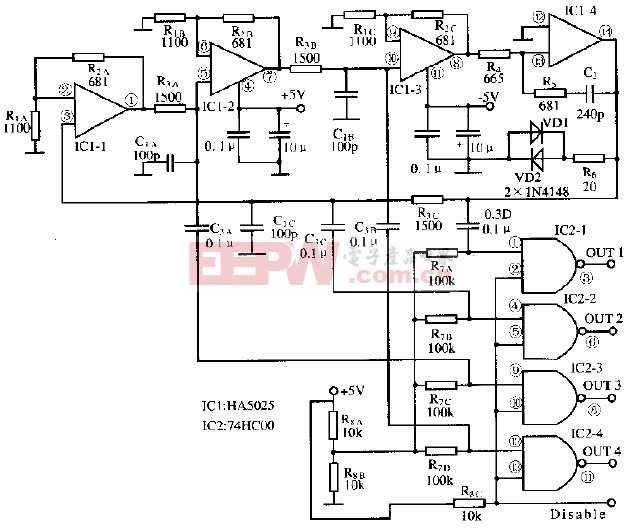 基于HA5025芯片的正交波形振荡电路