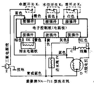 爱妻版na-711型全自动洗衣机-洗衣机电路图-电子产品