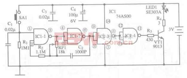 基于74AS00芯片的红外遥控发射电路