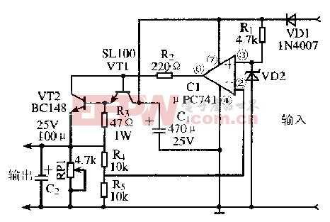 基于uPC741芯片的具有短路保护的稳压电源电路
