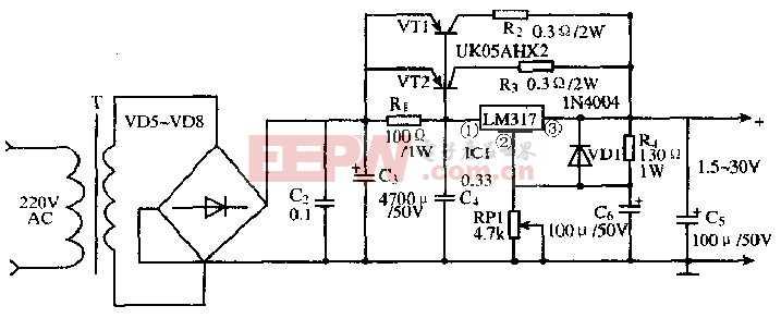 基于LM317T芯片的大电流电压可调稳压电路
