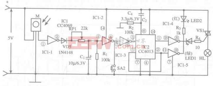 基于CC4013芯片的红外遥控开关灯电路