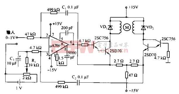 基于uA709芯片的具有补偿性能的直流电动机伺服电路