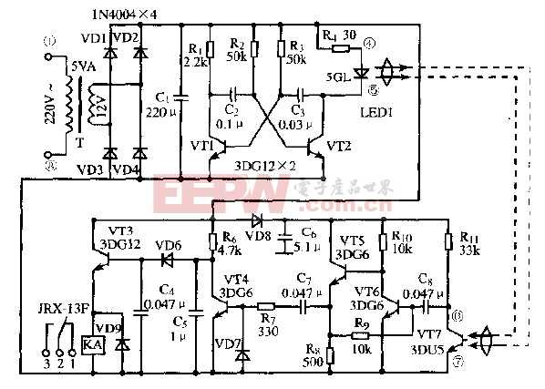 由6只晶体管构成的红外光继电器电路
