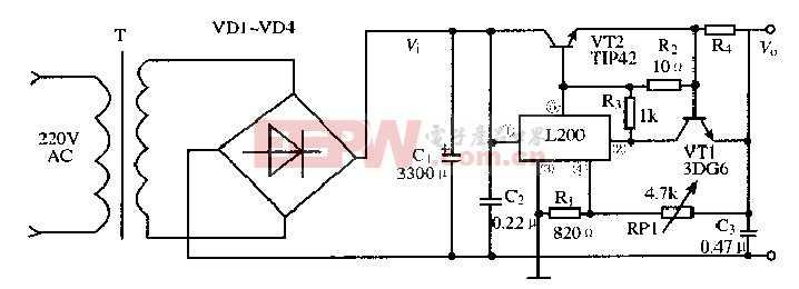 基于L200芯片的大电流稳压电路