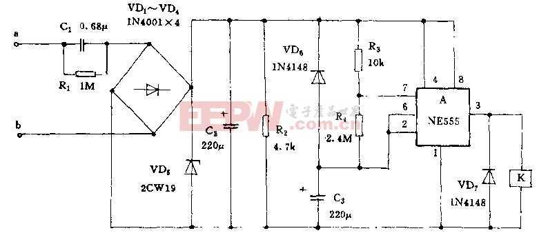 """工作原理 上图是保护器与洗衣机原控制线路的连接示意图.图中""""×""""示要断开的线路虚线表示在洗衣机控制线路中新增加的部分。进水阀保护器线路见下图所示。 时基集成电路A与R3、R4及c3组成无稳态方波振荡器、振荡周期20mm左右,通电后A的3脚将间隙输出10min高电平和10min低电平,线路具体工作过程是这样的:当洗衣机进水时B端将加上220v交流电,保护器即通电工作,因电容C8两端电压不能突变,C3两端电压为零,集成块A置位,3脚输出高电平,继电器K通电吸合,其常开接点"""
