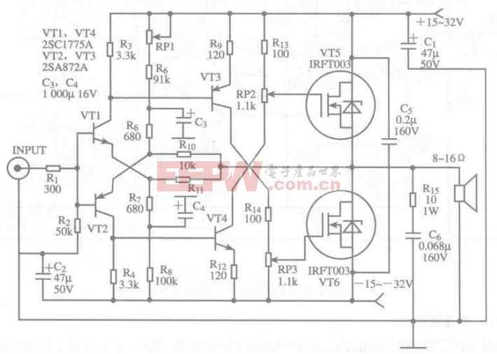 基于IRFT003芯片的对称功率放大电路