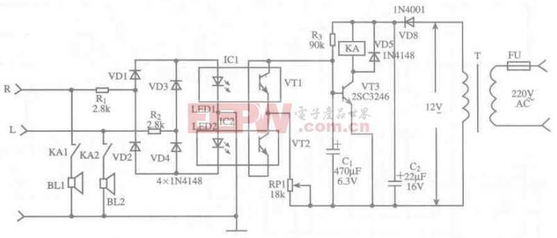 由光电耦合器4N25组成的扬声器保护电路