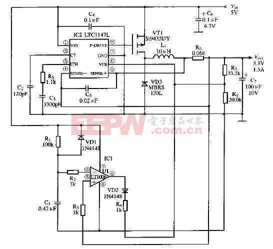 基于LTC1147L芯片的软启动式开关电源电路
