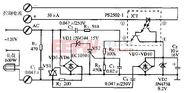 光电耦合器构成的小电流固态继电器电路