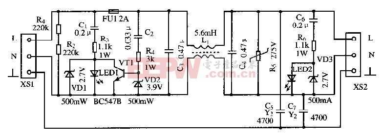 由1只晶体管组成的高效电源滤波器电路