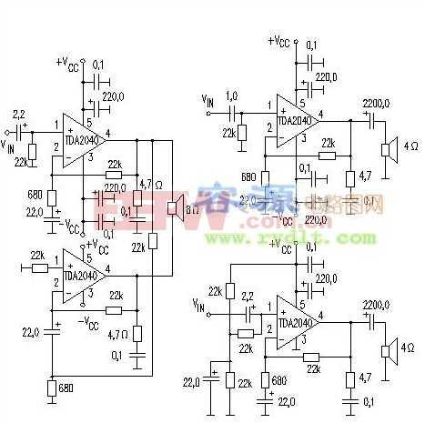 TDA2040音频功放IC应用电路