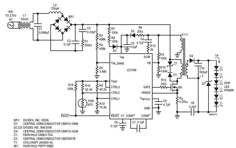 采用 LT3799 的 TRIAC 可调光 20W 离线式 LED 驱动器