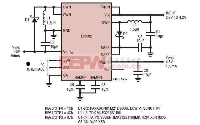 2.7V~4.2V 至 -5V/90mA 和 4.6V/100mA AMOLED 电源
