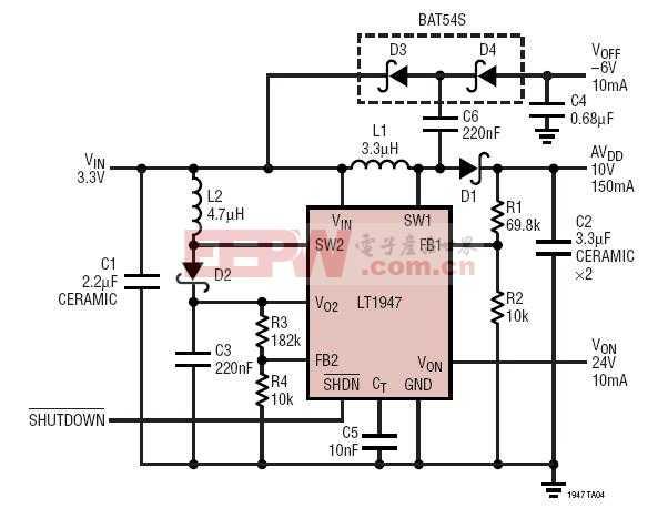 TFT-LCD 偏置发生器:10V、24V、-6V 输出
