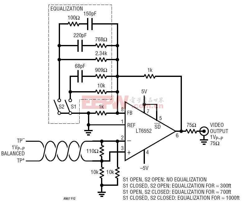 一体型双绞线视频线路接收器、电缆均衡器和显示驱动器