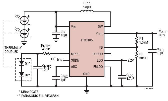 从多层堆叠电池的光伏电池组提供 3.3V 电压并具电源温度跟踪功能