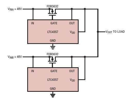 采用理想二极管的两个负载均分、冗余、48V/10A 电源