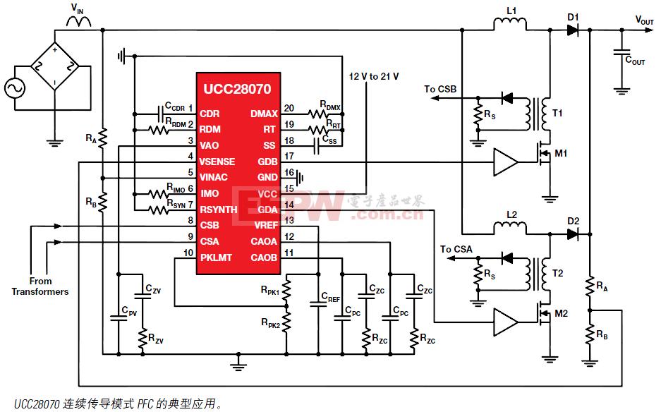 UCC28070 连续传导模式 PFC的典型应用