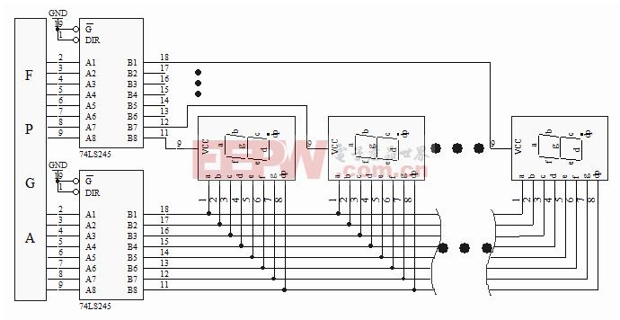 74LS245组成的LED动态显示驱动电路