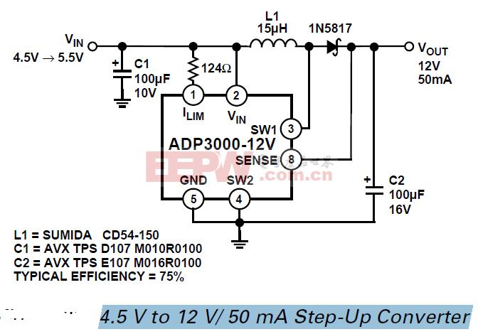 ADP3000 4.5 V至12伏50毫安升压转换器