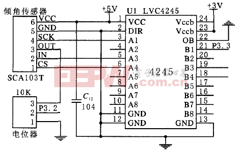 MSP430与SCA103T通信端口连接图