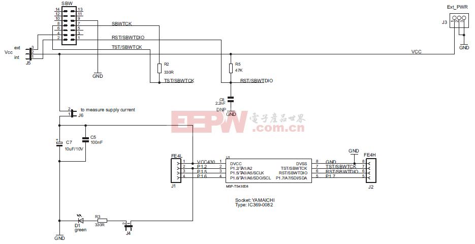 MSP-TS430D8 目标插座模块电路原理图