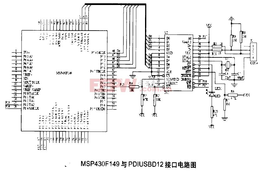 MSP430F149与PDIUSBD12接口电路图