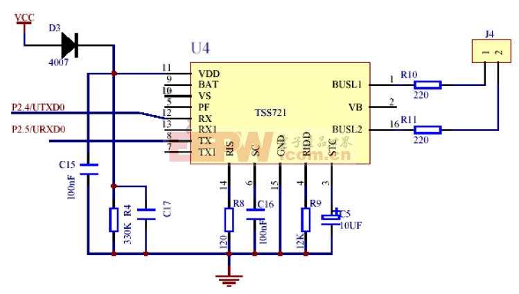 MSP430 M-Bus通讯电路