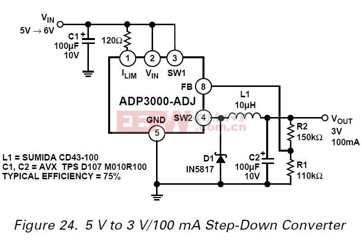 ADP3000 5 V至3 V100 mA的降压转换器