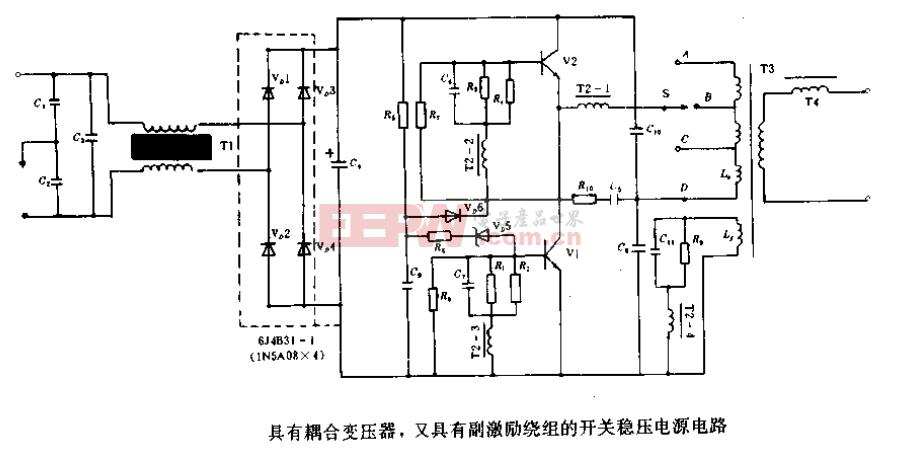 具有耦合变压器、又具有副激励绕组的开关稳压电源电路