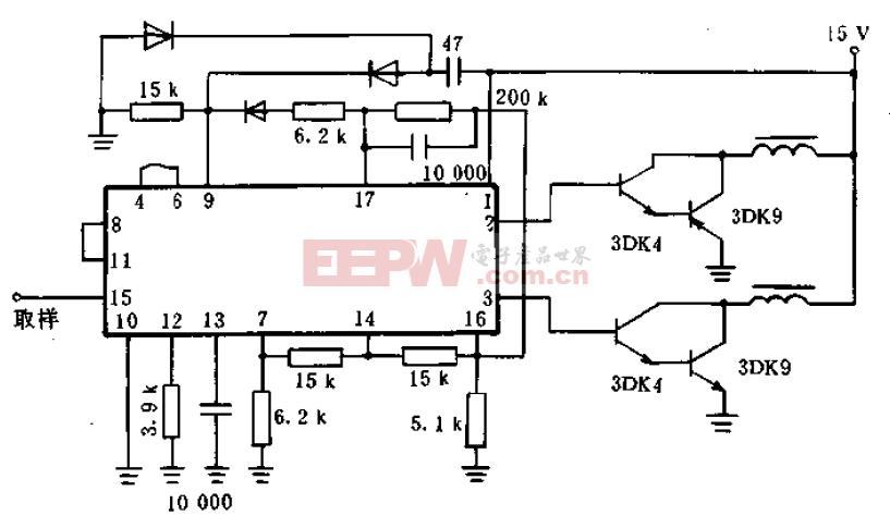 由集成块X63构成的脉宽调制开关稳压器的典型控制电路