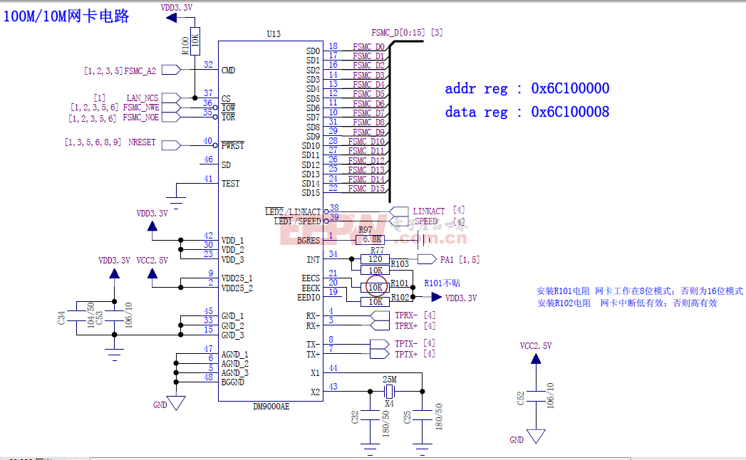 STM32 100M、10M网卡电路(上)